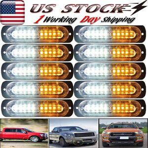 10x 12v Car Truck 10 Led Emergency Flash Beacon Hazard Strobe Light Amber white