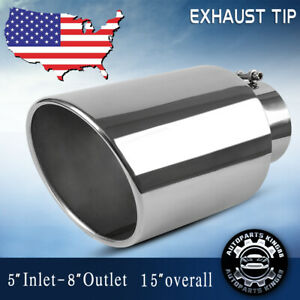 Diesel Exhaust Tip 5 Inlet 8 Outlet 15 Long Stainless Steel Bolt On Tailpipe