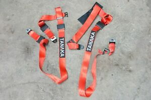 Tanaka Phantom Series Buckle 4 Point Safety Harness Set With Ultra Comfort Red
