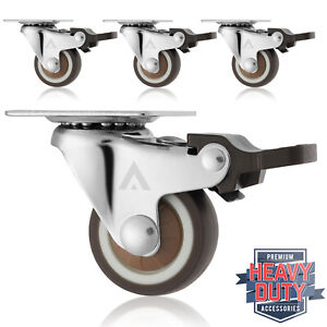 Set Of 4 Swivel Plate Casters With Brakes 1 1 4 Polyurethane Wheels Non Skid