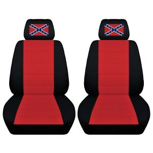 Front Set Car Seat Covers Fits 1984 Pontiac Fiero Black Red Personalized Design