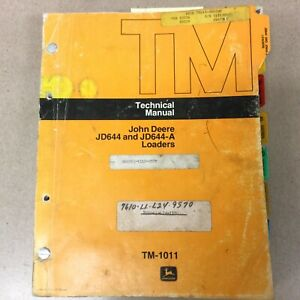 John Deere Jd 644 A Technical Service Shop Repair Manual Wheel Loader Tm 1011