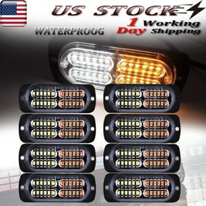 8x 30w Led Emergency Safety Strobe Light Bar Traffic Advisor Amber white 12 24v