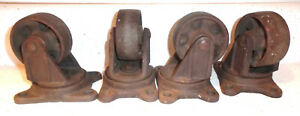 4 Antique Cast Iron Swivel Casters dolly 3 X 1 1 4 Wheels
