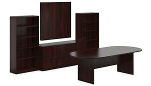 10ft Laminate Conference Table Boardroom Set In American Mahogany Finish