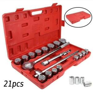 Portable 21 Pcs 3 4 Drive Socket Set Jumbo Ratchet Wrench Extension With Case
