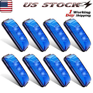 8x Blue Led Side Clearance Lights 3 9 oval Marker Light For Truck Trailer Lorry