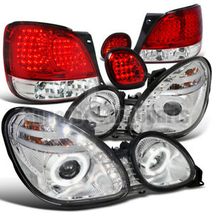 For 98 05 Lexus Gs300 Led Halo Projector Headlights Tail Trunk Lights Red