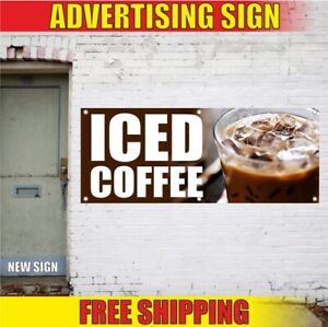 Coffee Advertising Banner Vinyl Sign Flag Restaurant Cafe Fresh Delicious Iced