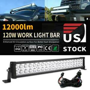 22inch 120w Led Light Bar Flood Spot Combo For Jeep Offroad Suv Atv 4wd Wire Kit
