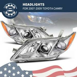 For 2007 2008 2009 Toyota Camry Projector Headlights Headlamps Chrome Housing
