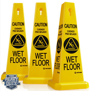 3 pack 26 Caution Wet Floor Cone Shaped Sign Yellow english Spanish
