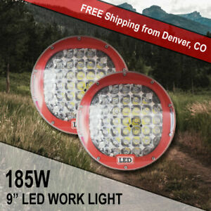 9 Round Cree Led Off Road Light Red 185w