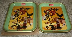 1957 Rooster Tray ~ English & French ~ Coca Cola Metal Trays