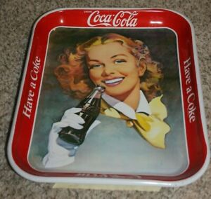 1953 Redhead with yellow scarf Coca Cola Metal Tray