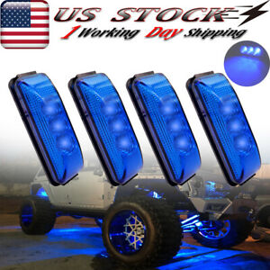 4x Oval Blue 3 Led Rock Lights For Jeep Off Road Trail Fender Underbody 3 9