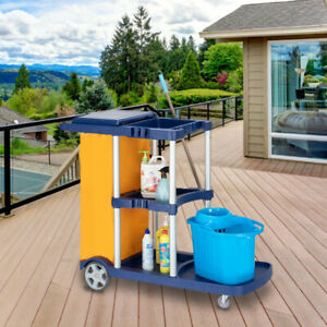 Commercial Janitorial Cleaning Cart 3 Shelf Housekeeping Ultility Cart Tool Us