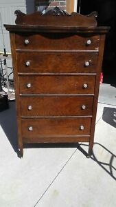 Antique Vintage Tall Bedroom Dresser W Glass Pulls Oak Very Solid