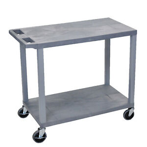 Offex Multipurpose 32 w X 18 d Two Flat Shelves Utility Cart With Wheels Gray
