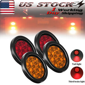 4x Truck Trailer Led Tail Light Round Turn Signal Brake Lights Red amber 16 smd