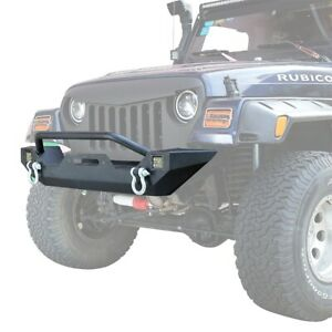 Front Bumper W Led Spotlight Winch Plate For 1997 2006 Jeep Wrangler Tj Black