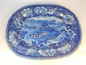 Antique Early 1800 S Blue English Fox Hunting Scene Platter