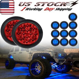 Round Underbody Led Rock Lights For Jeep Truck Suv Off Road Trail Fender