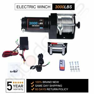 3000lbs Winch 40 Steel Cable Offroad Electric Winch Wireless Remote Control 12v