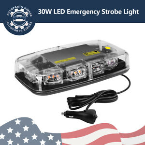 30 Led Amber Top Roof Flash Warning Safety Emergency Led Mini Strobe Light Bar