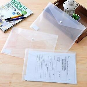 A4 Document File Bag Clear Envelope Holder Storage Case Snap Button Organizer