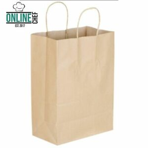 250 Natural Brown Kraft Paper Shopping Bags With Handle 10 X 5 1 2 X 13 1 4