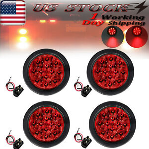 4x 4 Round Truck Trailer Light 12 Led Sealed Red Stop Brake Tail Lights