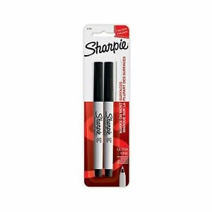 Sharpie Ultra Fine Tip Permanent Marker Extra fine Needle Tip Black 2 pack