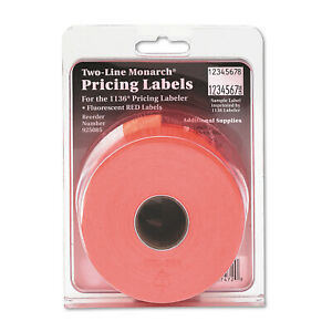 Monarch Easy load 1136 Two line Pricemarker Labels 5 8x7 8 Fluorescent Red 35