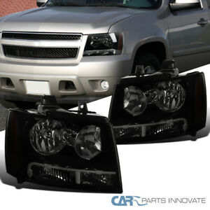 Smoke Lens Black Headlights For 07 13 Avalanche Tahoe Suburban Ls Lt Ltz Signal