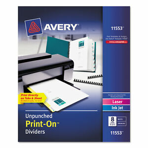 Avery Customizable Print on Dividers 8 tab Letter 5 Sets