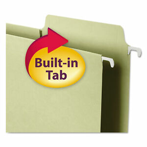 Smead Box Bottom Hanging Folders Built in Tabs Letter Moss Green Bx Smd642