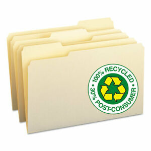 Smead 100 Recycled File Folders 1 3 Cut 1 ply Top Tab Legal Manila 100 box