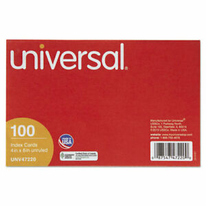 Universal Unruled Index Cards 4 X 6 White 100 pack Pk Unv47220
