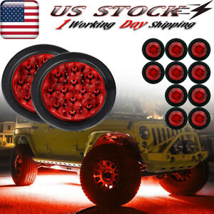 Round Led Rock Lights For Jeep Truck Off Road Trail Fender Underbody Red Light