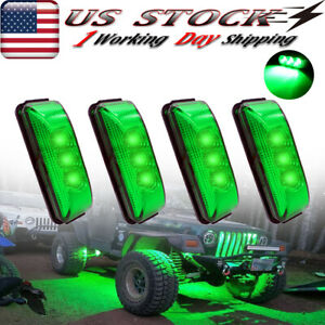 4x Led Rock Lights For Jeep Truck Off Road Trail Fender Underbody Green Light
