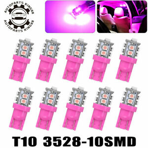 10x Pink T10 10smd Led Car Dome Map Interior Light Bulb W5w 158 168 192 194 2825