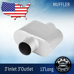 Performance Race Muffler 3 Inlet Outlet Single Chamber Aggressive Sound Silencer