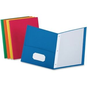 Twin pocket Folders With 3 Fasteners Letter 1 2 Capacity Assorted 25 box