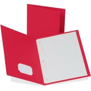 Oxford Twin pocket Folders With 3 Fasteners Letter 1 2 Capacity Red 25 box