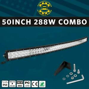 Curved 50inch 288w Led Light Bar Flood Spot Roof Driving Truck Rzr Suv 4wd 52
