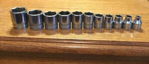 Vintage Snap On 11 Piece 6 Point 3 8 Drive Sae Shallow Socket Set 7 8 1 4