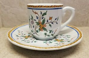 Gien China France Rouen Au Sainfoin Demitasse Cup And Saucer Excellent Condition