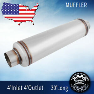 4 Inlet Outlet Car Muffler Resonator 30 Long High Performance Deep Tone