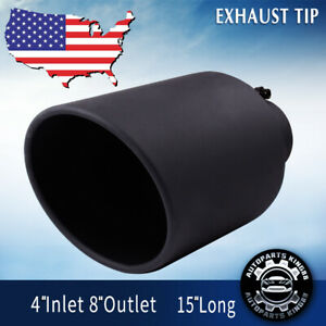 4 Inlet Diesel Exhaust Tip Black Stainless Steel Bolt On 8 Outlet 15 Long